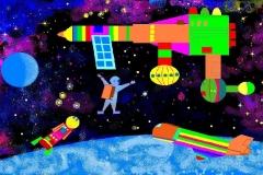 """На орбите. Автор: Путинцев Глеб, <br/>МКОУ """"СОШ с.Екатерино Никольское (6 - 10 лет)"""